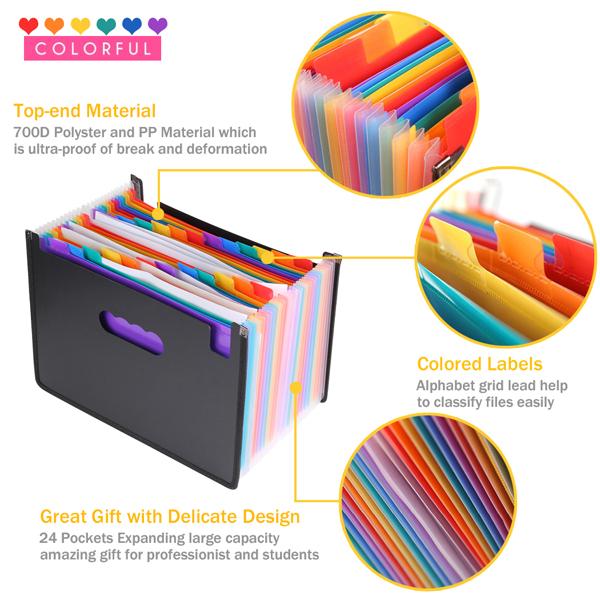 Expanding Accordion File Folder 24 Pockets Trimagic Filing Box with Unique Mesh Bag Design Alphabetical Expandable File Organizer for Document Paperwork Tax Bill or Receipt